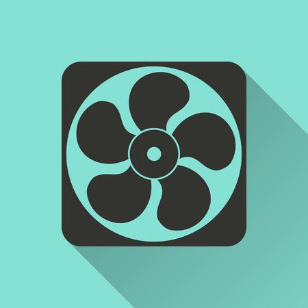 black fan: xhaust fan - vector icon in black on a green background.