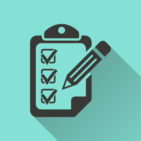 agenda: Clipboard pencil - vector icon in black on a green background.
