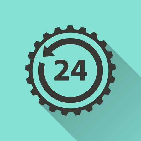 24 hour: 24 hour service  - vector icon in black on a green background.