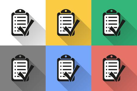filling folder: Checklist icon with long shadow, flat design illustration. Illustration