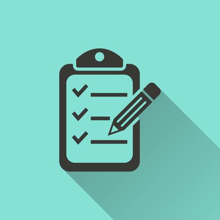 Checklist  - vector icon in black on a green background. Vettoriali