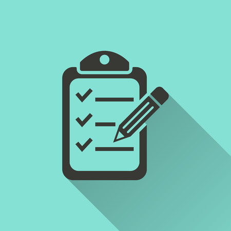 Checklist  - vector icon in black on a green background. Illustration