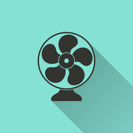 aeration: Electric fan - vector icon in black on a green background.