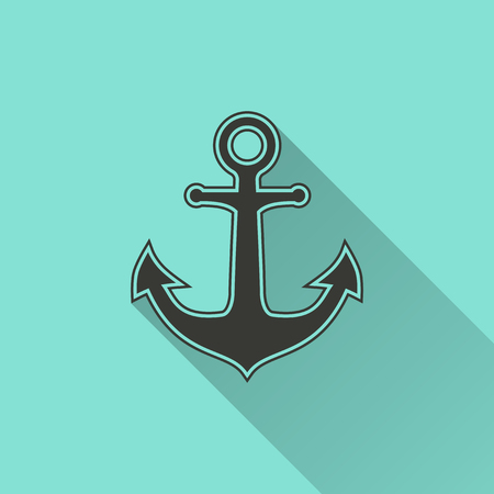 navy pier: Anchor - vector icon in black on a green background.