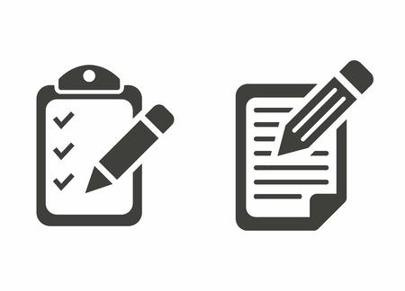 Rejestracja - wektorowe ikony w kolorze czarnym na białym tle.