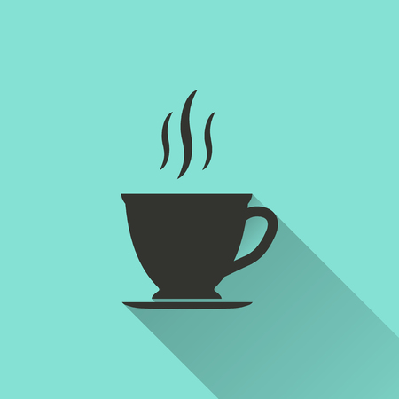 black coffee: Coffee cup - vector icon in black on a green background.