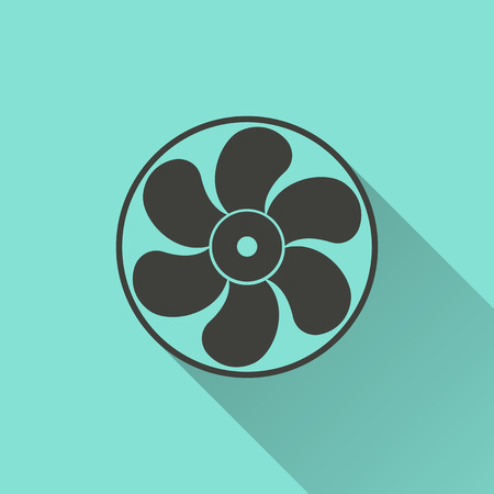 blowhole: Fan - vector icon in black on a green background.