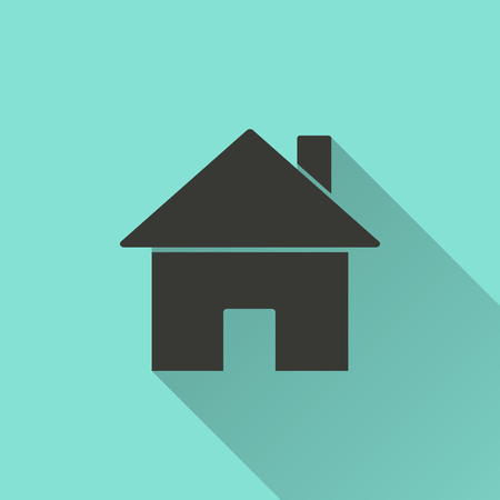 abode: Home - vector icon in black on a green background.