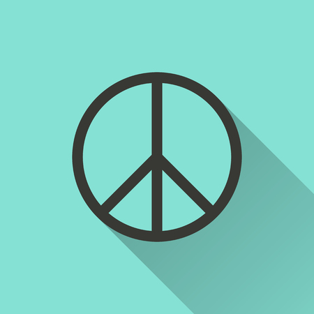 antiwar: Peace sign - vector icon in black on a green background.