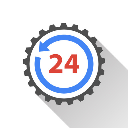twenty four hours: 24 hour service - vector icon on a white background.