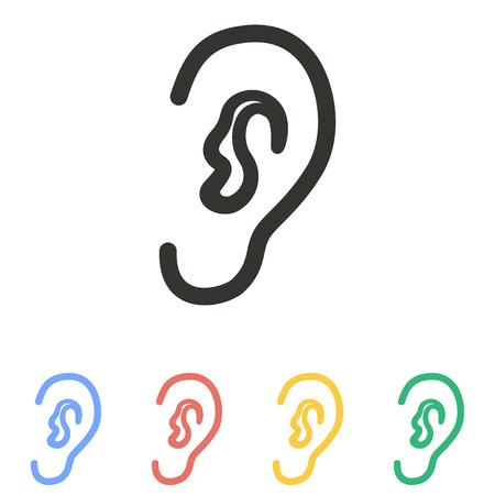 白い背景の上の耳アイコン。ベクトルの図。