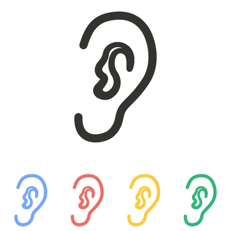 Ohr-Symbol auf weißem Hintergrund. Vektor-Illustration. Standard-Bild - 47260067