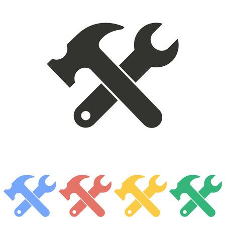 herramientas de mecánica: Icono de la herramienta en el fondo blanco. Ilustración del vector.