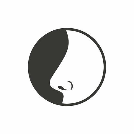 atmung: Nasen-Symbol auf weißem Hintergrund. Vektor-Illustration.