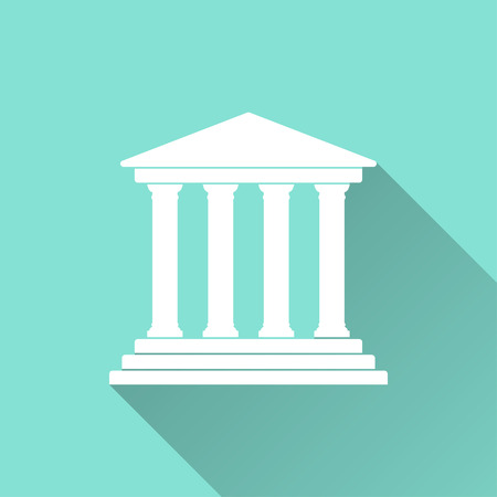 tribunal: Court  icon with long shadow on green background, flat design. Vector illustration.