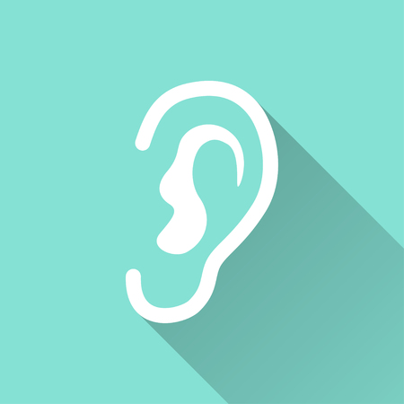 listener: Ear   icon with long shadow on green background, flat design. Vector illustration.