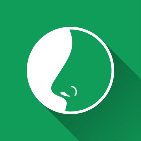 nariz: icono de la nariz con una larga sombra sobre fondo verde, diseño plano. Ilustración del vector.