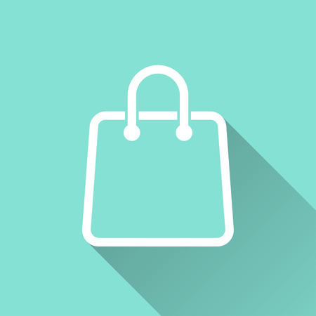 bag icon: Shopping bag  icon with long shadow on green background, flat design. Vector illustration.