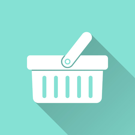 Shopping basket  icon with long shadow on green background, flat design. Vector illustration. Stok Fotoğraf - 47260373
