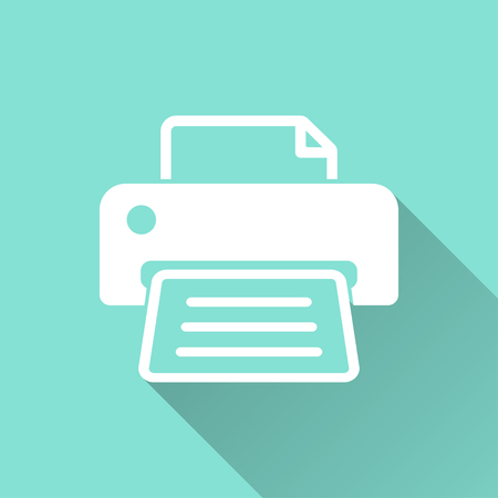 Printer  icon with long shadow on green background, flat design. Vector illustration.