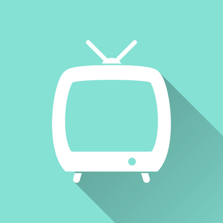 flatscreen: TV  icon with long shadow on green background, flat design. Vector illustration. Illustration