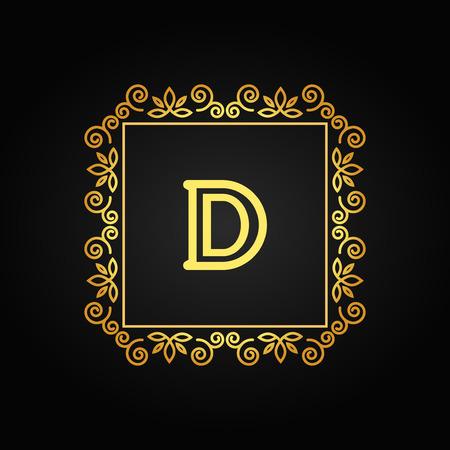 line art: Monograma decorativo. Elemento de dise�o con espacio para el texto. Ilustraci�n del vector.