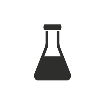a solution tube: Flask  icon  on white background. Vector illustration. Illustration