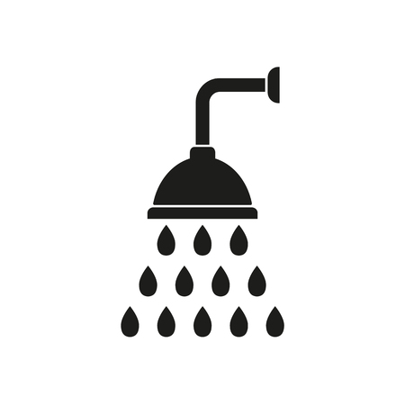 rinse: Shower  icon  on white background. Vector illustration.
