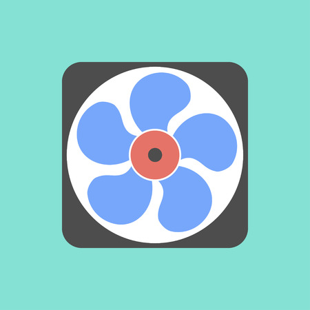 rotor: Fan  icon on green background. Vector illustration.