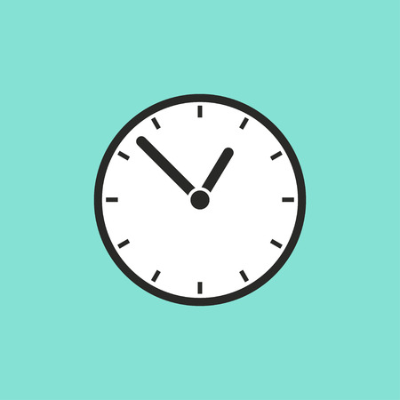 Clock  icon on green background. Vector illustration. Çizim