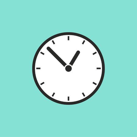 Clock  icon on green background. Vector illustration. Vettoriali