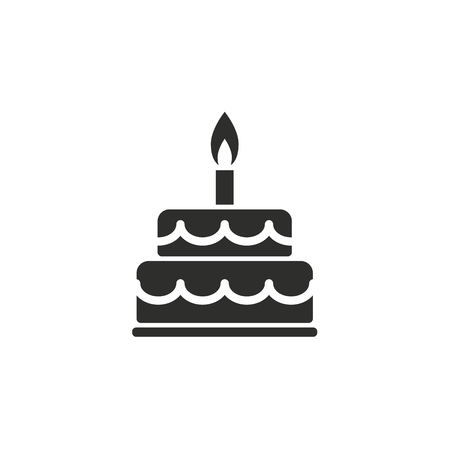 birthday candles: icono de la torta en el fondo blanco. Ilustración del vector.