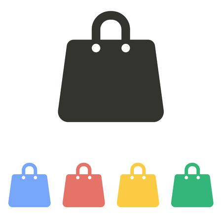 白い背景の上のショッピング バッグ アイコン。ベクトルの図。