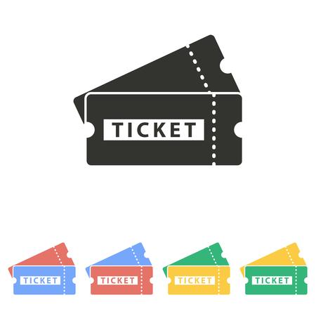 biglietto: Icona del biglietto su sfondo bianco. Illustrazione vettoriale. Vettoriali