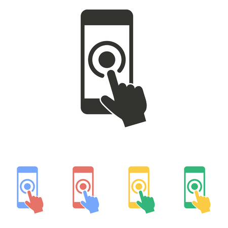click with hand: Touch   icon  on white background. Vector illustration. Illustration