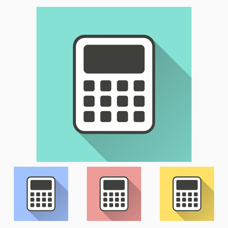 electronic balance: Calculator icon with long shadow, flat design. Vector illustration.