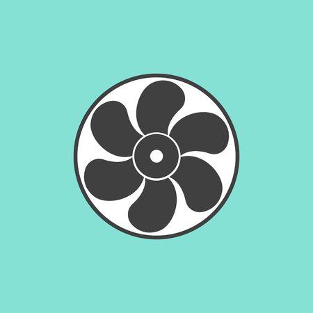 aeration: Fan  icon on green background. Vector illustration.