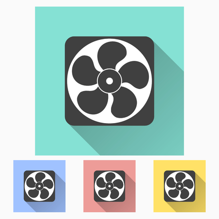 blowhole: Exhaust fan icon with long shadow, flat design. Vector illustration.