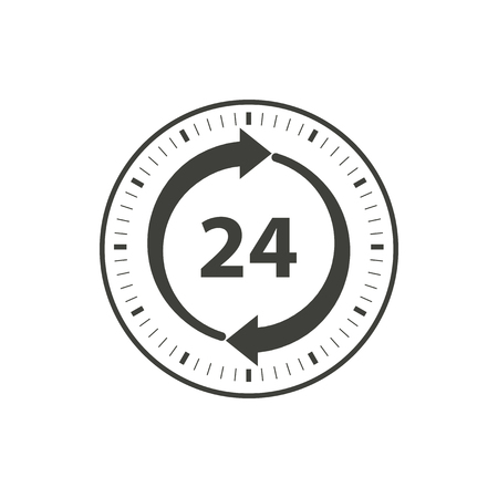 24 hour: 24 hour service - vector icon in black on a white background.