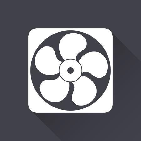 orificio nasal: Fan - icono blanco con una larga sombra sobre un fondo negro. Ilustración del vector. Vectores