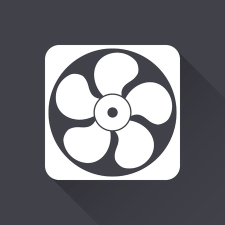 aeration: Fan - white icon with a long shadow on a black background. Vector illustration.