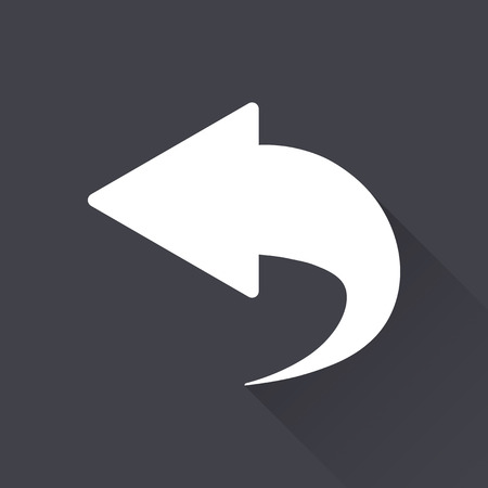 reviser: Backward - white icon with a long shadow on a black background. Vector illustration. Illustration
