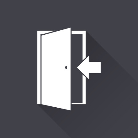 white door: Door - white icon with a long shadow on a black background. Vector illustration.
