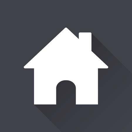 abode: Home - white icon with a long shadow on a black background. Vector illustration.