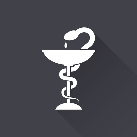 ordinance: Medical symbol - white icon with a long shadow on a black background. Vector illustration. Illustration