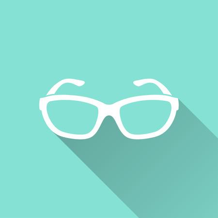 Glasses  icon on green background.  Illustration