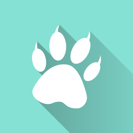 canine: Paw  icon on green background.