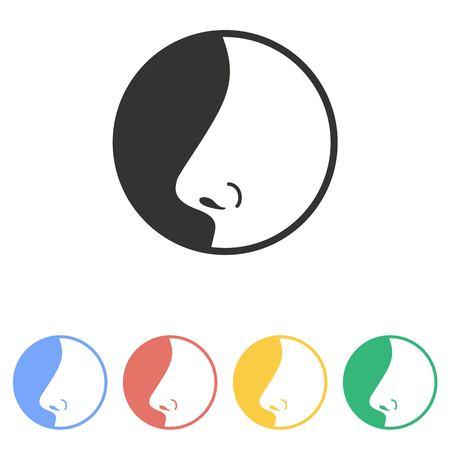 nariz: Icono de la nariz en el fondo blanco.