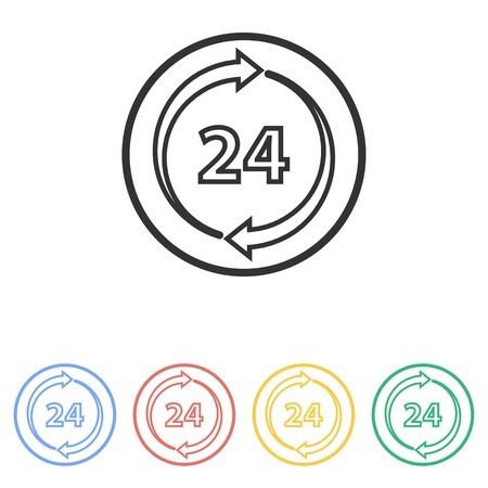 24 hour: 24 hour service  icon  on white background.