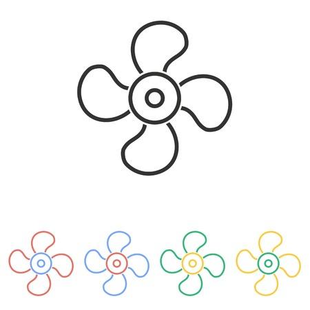 aeration: Fan  icon  on white background.